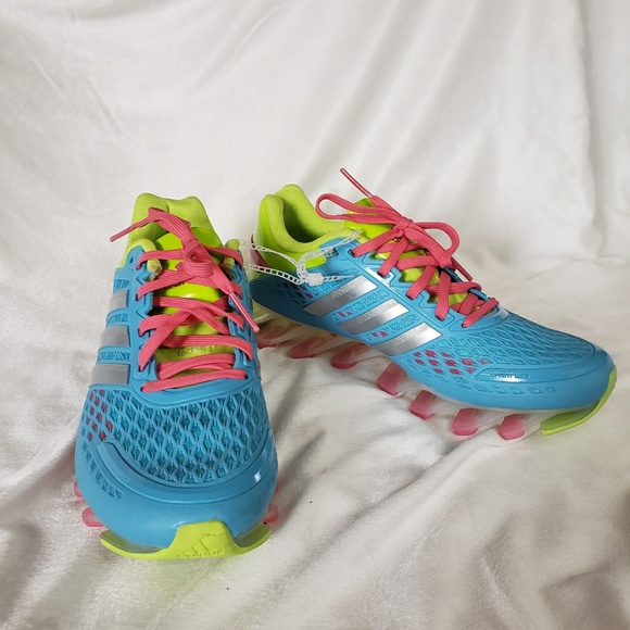 new product 2ef17 c1369 Adidas Blue Pink & Green Springblade Running Shoes